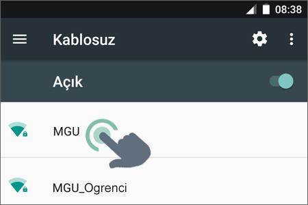 MGü Personel Kablosuz Ağ Bağlantısı Adım 1