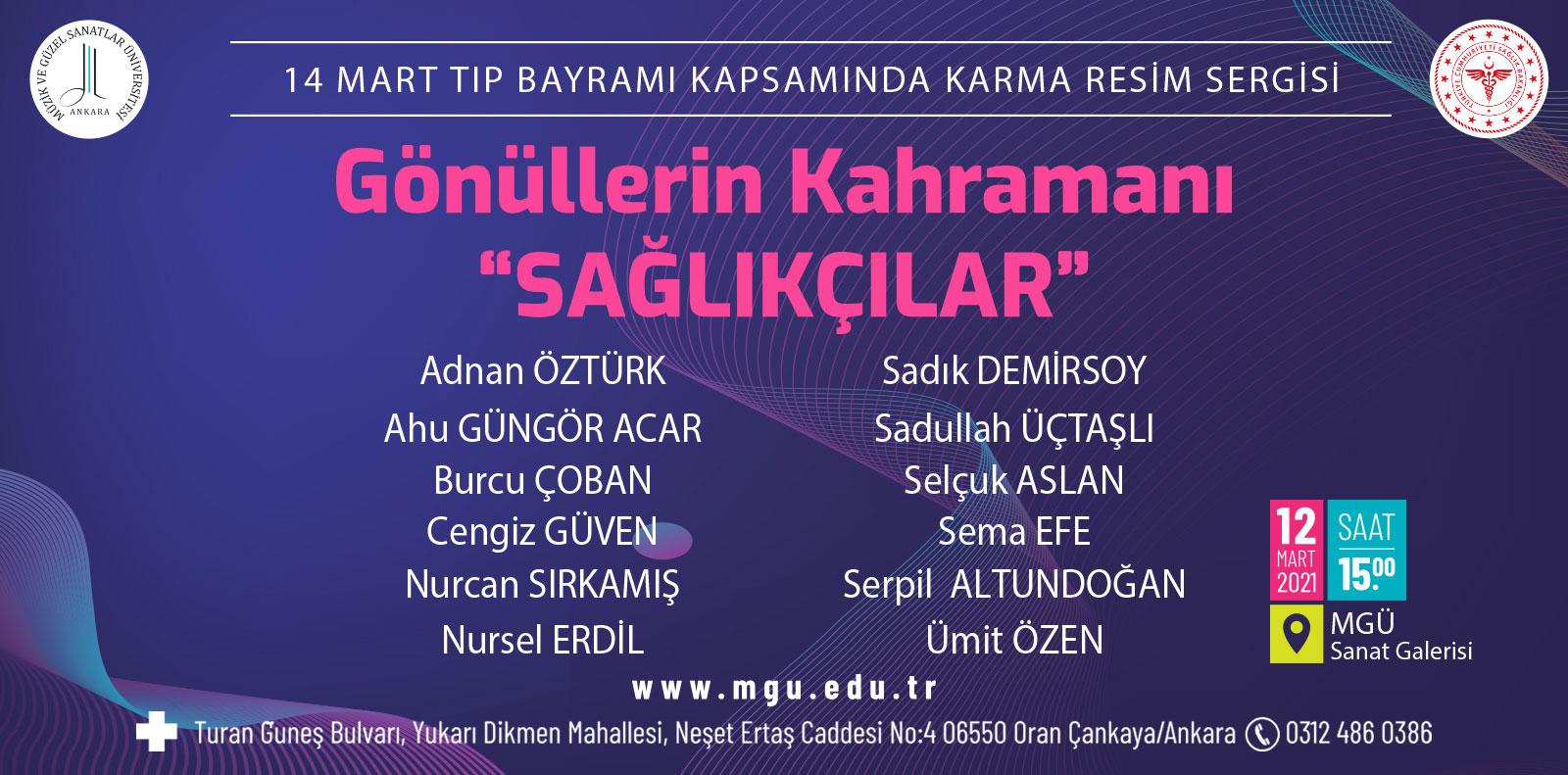"""""""GÖNÜLLERİN KAHRAMANI; SAĞLIKÇILAR"""" KARMA RESİM SERGİSİ"""