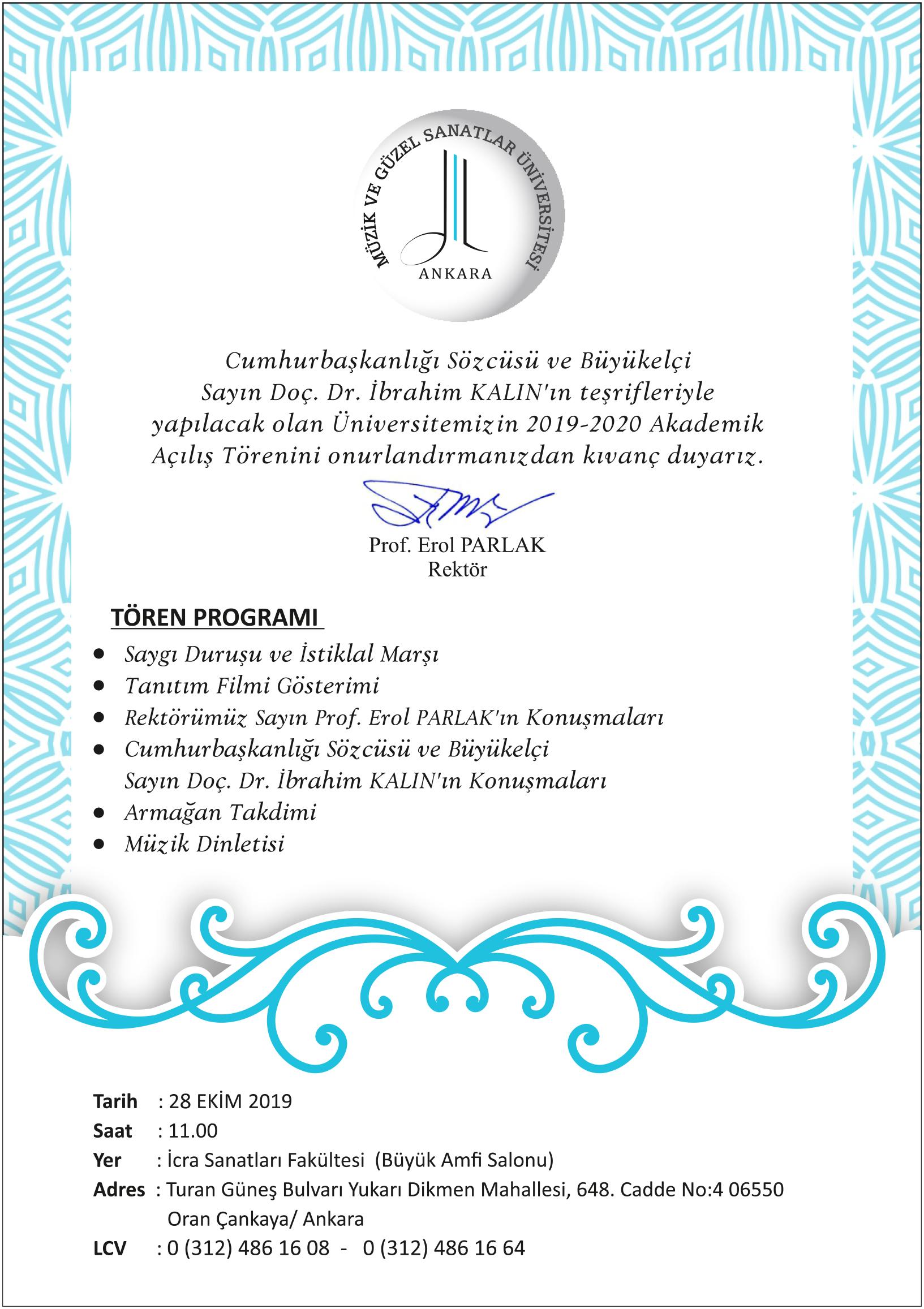2019-2020 Akademik Yılı Açılış Töreni
